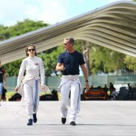 David Coulthard and Susie Wolff have a chat before