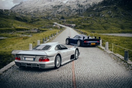 Alps, Dusk, a Porsche GT1 And a Mercedes AMG CLK GTR